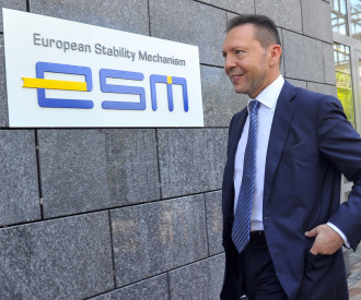 Greek Finance Minister Yannis Stournaras arrives to the European Stability Mechanism (ESM)
