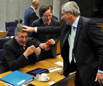 Belgian Finance Minister Steven Vanackere, Luxembourg's Prime Minister and Eurogroup President Jean Claude Juncker