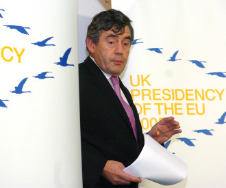 Britain's Chancellor of the Exchequer Gordon Brown