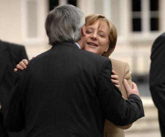 Luxembourg Prime Minister jean Claude Juncker, German Chancellor Angela Merkel