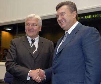 Ukraine Prime Minister Viktor Yanukovich, German Foreign Minister Frank Walter Steinmeier