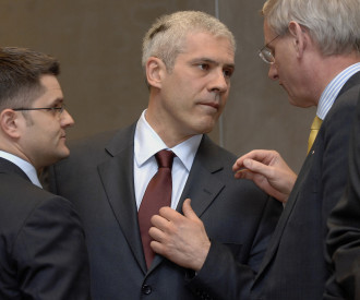 Serbia Foreign Minister Vuk Jeremic, President Boris Tadic, Sweden Foreign Minister Carl Bildt