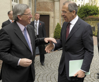 Russian Foreign Minister Sergei Lavrov, Luxembourg Prime Minister Jean Claude Juncker