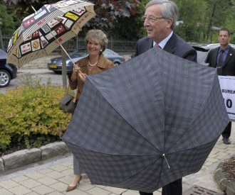 Luxembourg Prime Minister Jean  Claude Juncker at polling station 2009