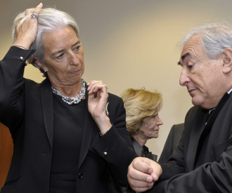 France Finance Minister Christine Lagarde, Dominique Strauss-Kahn, head of the International Monetary Fund (IMF)