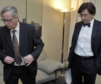 Belgian Prime Minister Elio Di Rupo, Luxembourg Prime Minister and President of Eurogroup Jean-Claude Juncker