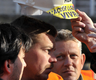 French Steelworkers demonstration in Metz France 2012