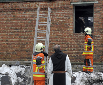FIRE AT Abbaye Notre Dame de Saint-RŽEmy, ROCHEFORT BELGIUM 2010